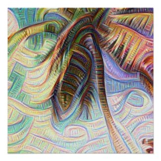 Abstract Rainbow Palm Tree Poster