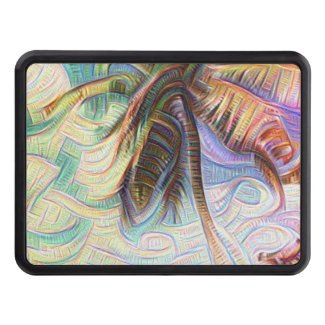 Abstract Rainbow Palm Tree Trailer Hitch Cover