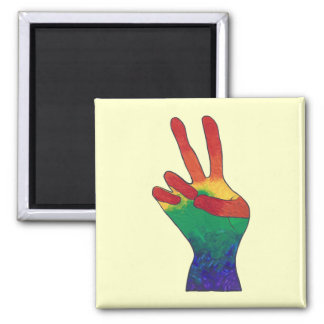 Abstract rainbow peace hand sign custom magnets