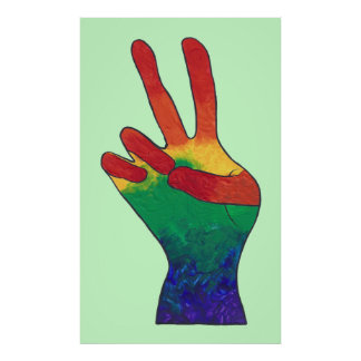 Abstract rainbow peace hand sign custom posters