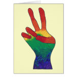 Abstract rainbow peace hand sign greeting cards
