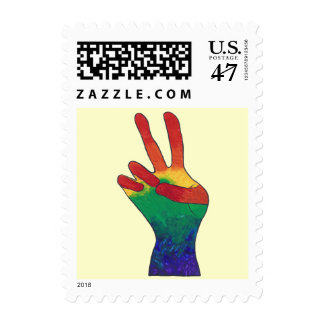 Abstract rainbow peace hand sign postage stamps