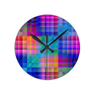 Abstract Rainbow Round Clocks
