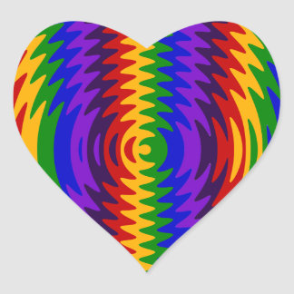 Abstract Rainbow Saw Blade Ripples Colorful Design Heart Sticker