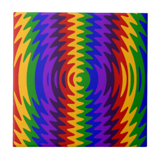 Abstract Rainbow Saw Blade Ripples Colorful Design Ceramic Tiles