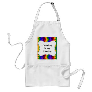 Abstract Rainbow Saw Blade Ripples Design Adult Apron