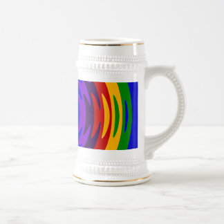 Abstract Rainbow Saw Blade Ripples Design Beer Stein