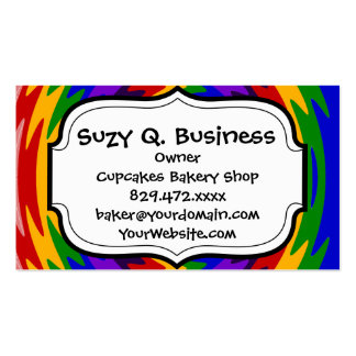 Abstract Rainbow Saw Blade Ripples Design Business Card