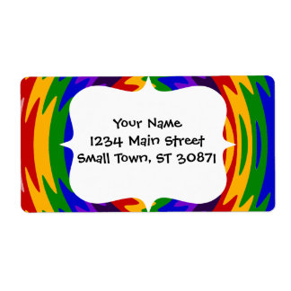Abstract Rainbow Saw Blade Ripples Design Shipping Label