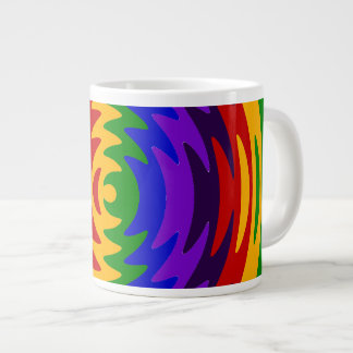 Abstract Rainbow Saw Blade Ripples Design Large Coffee Mug