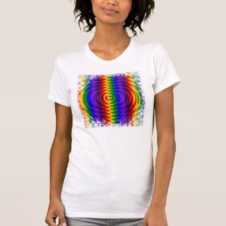 Abstract Rainbow Saw Blade Ripples Design T Shirt