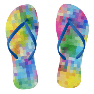 Abstract Rainbow Square Mosaic Pattern Flip Flops