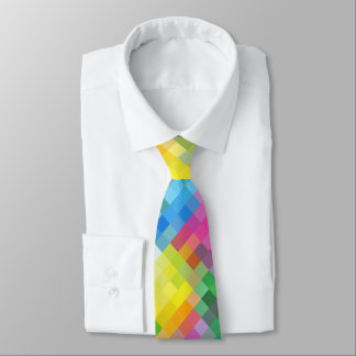 Abstract Rainbow Square Mosaic Pattern Neck Tie