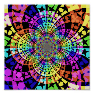 Abstract Rainbow star design Posters