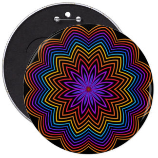 Abstract Rainbow Star Flower Button