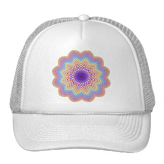Abstract Rainbow Star Flower  Hat