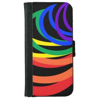Abstract Rainbow Stripe iPhone 6 Wallet Case