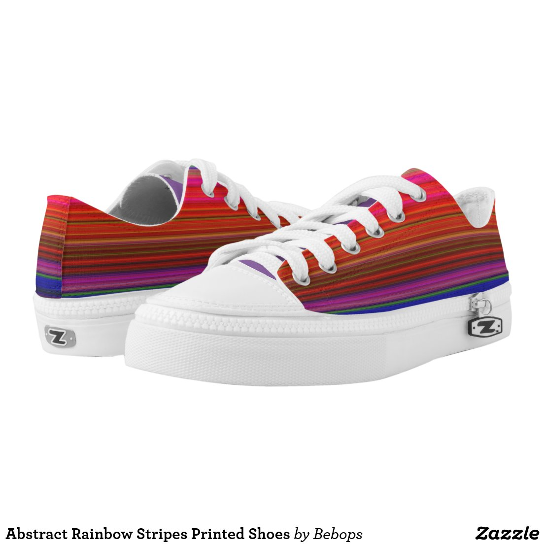 Abstract Rainbow Stripes Printed Shoes