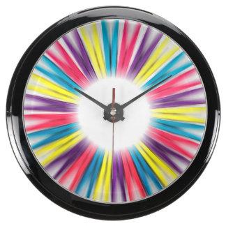 Abstract Rainbow Sun Rays Pegs Aqua Clock