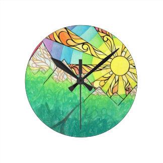 Abstract Rainbow Sun Setting Watercolor & Marker Round Clock
