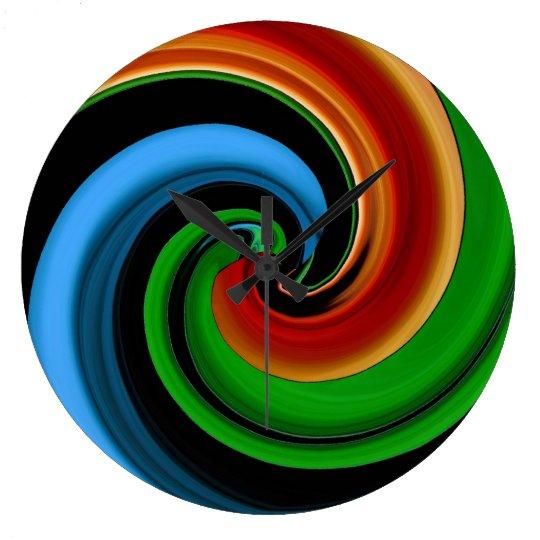Abstract Rainbow Swirl Wall Clock