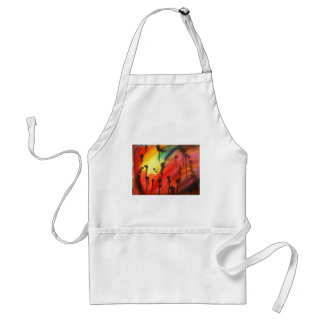 abstract rainbow with black drips adult apron