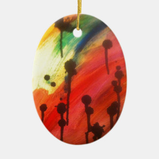 abstract rainbow with black drips ceramic ornament