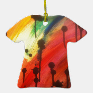 abstract rainbow with black drips ornaments