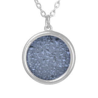 Abstract Raindrops on Window Blue Silver Plated Necklace