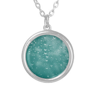Abstract raindrops silver plated necklace