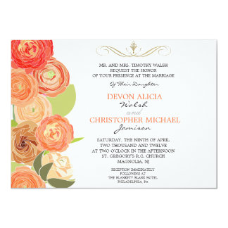 "Abstract Ranunculus Fall Flowers Wedding Invite 4.5"" X 6.25"" Invitation Card"