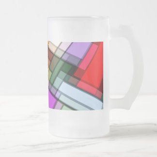 Abstract Rectangles.jpg Frosted Glass Beer Mug