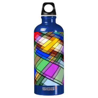Abstract Rectangles Water Bottle