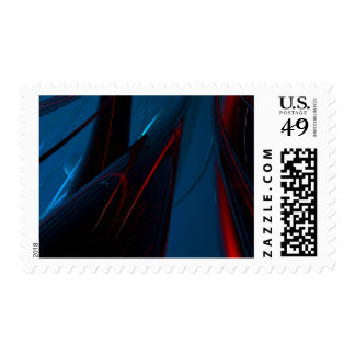 abstract red and dark blue postage stamp