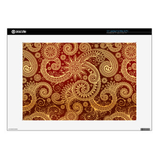 "Abstract Red and Gold Floral Pattern 15"" Laptop Skins"