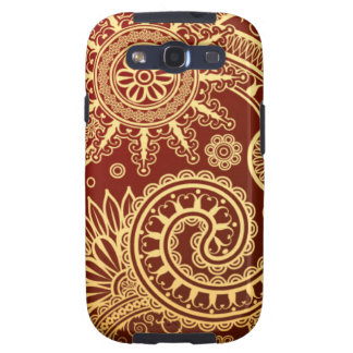 Abstract Red and Gold Floral Pattern Samsung Galaxy SIII Covers