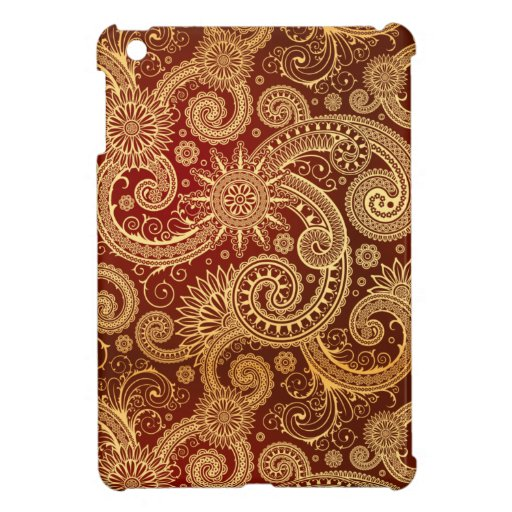 Abstract Red and Gold Floral Pattern iPad Mini Cases