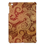 Abstract Red and Gold Floral Pattern iPad Mini Cover