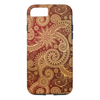 Abstract Red and Gold Floral Pattern iPhone 7 Case