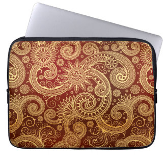 Abstract Red and Gold Floral Pattern Laptop Sleeves