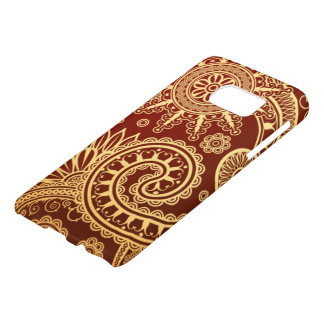 Abstract Red and Gold Floral Pattern Samsung Galaxy S7 Case