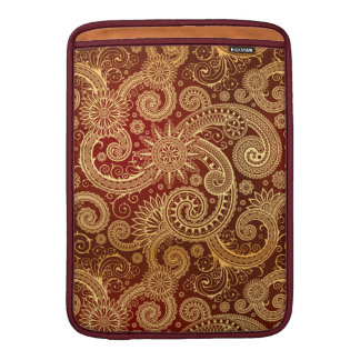 Abstract Red and Gold Floral Pattern Sleeve For MacBook Air