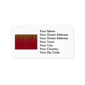 Abstract Red and Green Tribal Design Label