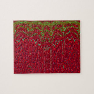 Abstract Red and Green Tribal Design Jigsaw Puzzles