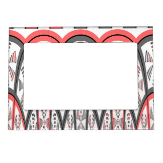Abstract red and grey magnetic photo frame