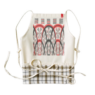 Abstract red and grey zazzle HEART apron