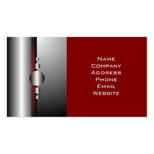 Abstract Red and Silver Metal Look Business Cards