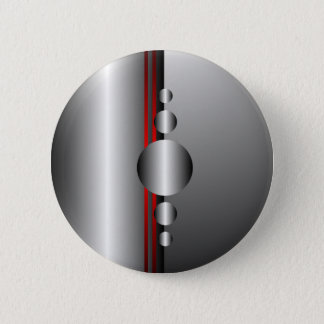 Abstract Red and Silver Metal Look Button