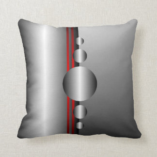 Abstract Red and Silver Metal Look Throw Pillow