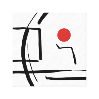 Abstract Red Ball & Lines Drawing Canvas Print